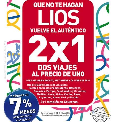 Oferta de 2×1 en viajes con Halcón Viajes
