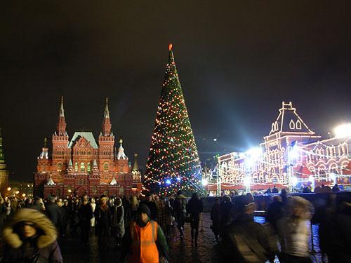 plaza roja en Navidad